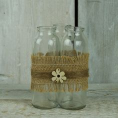 Trio of Glass Bottles for Floral Display