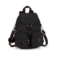 Kipling Women's Firefly Medium Backpack - Dazzling Black ($98) ❤ liked on Polyvore featuring bags, backpacks, foldable backpack, day pack backpack, strap bag, foldable bag and fold-over crossbody bags