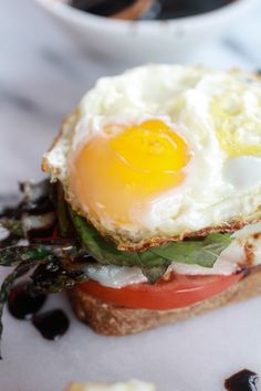 Roasted Asparagus Caprese Melt with Balsamic Drizzle and Fried Egg from Half Baked Harvest