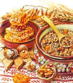 Part 1 - - Watercolor Food, Watercolour, Food Art Painting, Russian Dishes, Dessert Illustration, Cute Food Art, Food Wallpaper, Big Meals, My Best Recipe