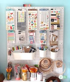 Over 30 ways to organize with a peg board pegboard craft room, scrapbook room organization Pegboard Craft Room, Pegboard Organization, Craft Room Storage, Fabric Storage, Kitchen Pegboard, Pegboard Display, Ikea Pegboard, Painted Pegboard, Craft Rooms