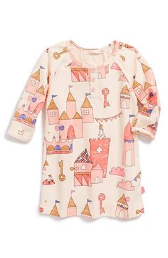 Billieblush Castle Print Raglan Sleeve Dress (Baby Girls)