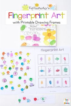 Fingerprint Art for Kids with Printable Drawing Frames, Printable Lessons for Toddlers, Finger Paint Art, Learning Ideas for Toddlers, Fine Motor Activities for Kids, Drawing Lessons for Toddlers, Funprint Drawing