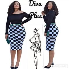 Sneak Preview...Diva Plus Black & White Dress Cute Diva Plus Black Dress w/Black & White Check Bottom. Dress has long sleeves & is slightly off shoulders. Has solid black top & black & white check bottom. Belt NOT included. Sizes XL, XXL, & XXL. Cosb Dresses Midi
