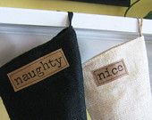 Naughty and Nice Burlap Holiday Stockings Set of 2