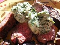 Grilled Flat Iron Steak with Blue Cheese and Basil Compound Butter. I love to make this for a romantic dinner.
