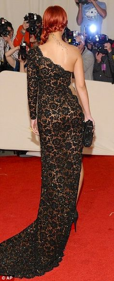 Rihanna in a Stella McCartney - Black Lace Gown. Gorgeous!