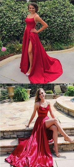 Sexy Spaghetti Straps Side Slit Red Satin Long Prom Dresses, Shop plus-sized prom dresses for curvy figures and plus-size party dresses. Ball gowns for prom in plus sizes and short plus-sized prom dresses for Burgundy Homecoming Dresses, Prom Dresses, Graduation Dresses, Red Satin Prom Dress, Prom Outfits, Bridesmaid Dress, Bridesmaids, Wedding Dress, Elegant Dresses