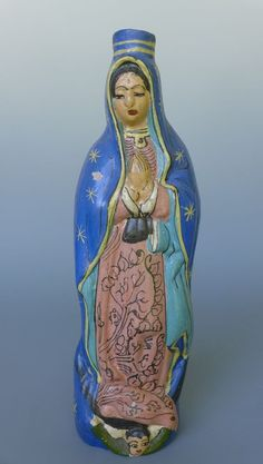 """Vintage Mexican Tlaquepaque Our Lady Guadalupe holy water bottle  12 1/4"""" tall"""