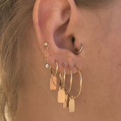 Gold filled tag hoop earring with initial  - Gold hoop earrings - Personalized Earring by LesDeuxjewelry on Etsy https://www.etsy.com/listing/477709570/gold-filled-tag-hoop-earring-with