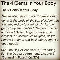 The 4 gems in your body Prophet Muhammad Quotes, Hadith Quotes, Allah Quotes, Muslim Quotes, Religious Quotes, Islam Hadith, Allah Islam, Alhamdulillah, Islam Quran