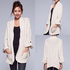 Love Stitch Cowl Draped Cardigan Sweater #LoveStitch #Cardigan ...