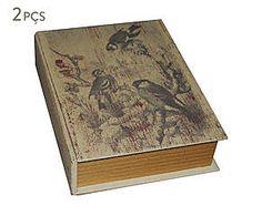 Conjunto de caixas organizadoras livro pássaros