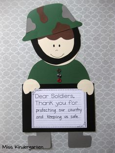 For Veterans Day, this kindergarten class wrote thank you notes to our soldiers. Each child can tell the teacher what they want to thank the veterans for.