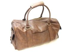 M-S-Mens-Mid-Brown-Faux-Leather-Shoulder-Carry-On-Cabin-Weekend-Bag-Large