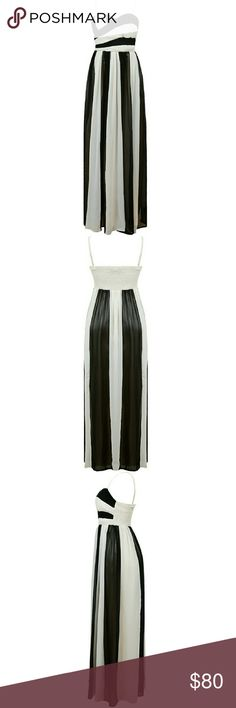 COMING SOON black & cream chiffon maxi dress Coming week of 1/23 Cream and black crepe like fabric (polyester). Top has a pleated detail bottom is more chiffon like. More info soon when I'm ready to release these for sale Dresses Maxi