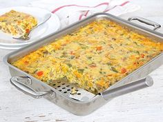 This egg, sausage and cheese breakfast bake is so easy to make and will satisfy a hungry crowd on a lazy weekend morning or a busy Holiday with the family! Thanks to Maegan Brown from The BakerMama for this tasty recipe. Baked Breakfast Recipes, Breakfast Bake, Brunch Recipes, Breakfast Ideas, Egg Recipes, Baking Recipes, Recipies, Yummy Recipes, Yummy Eats
