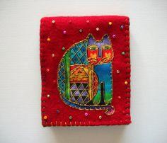 Needle Book Red Felt with Laurel Burch Cat by HandcraftedorVintage, $16.00