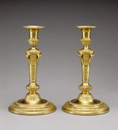 Pair of Candlesticks -- Unknown Maker -- about 1680 - 1690 -- Gilt bronze