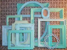 13 Beach Themed Picture Frames in Robin's Egg Blue, Sea Foam Green and Beach Glass. $80.00, via Etsy.