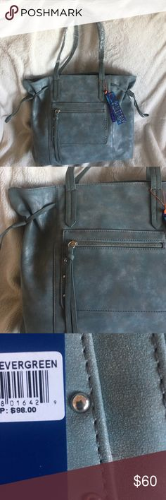 ♥SALE FINAL PRICE 🌿NWT Large Tote 🌿 Cool iridescent teal / green / grey color . NWT . Violet Ray  Bags