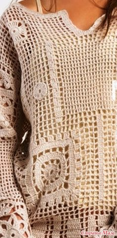 Crochet **too bad no pattern** Moda Crochet, Crochet Tunic, Crochet Clothes, Crochet Stitches, Knit Crochet, Crochet Patterns, Knitting Projects, Crochet Projects, Crochet Fashion