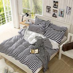 White and Black Color Stripe Print Pattern, 100% Microfiber Lightweight Duvet Cover Set