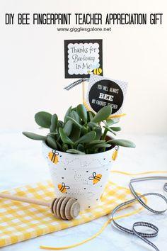 Celebrate Teacher Appreciation Week with a handmade Bee Fingerprint Teacher Appreciation Gift and add a cute free printable tag.