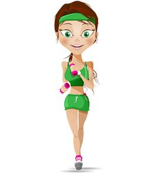 Sport girl vector character filled with energy and vigor. Our vector girl will meet the needs of a wide range of projects related to sport and fitness. Today w