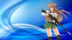 Anime Highschool Of The Dead  Rei Miyamoto Azul Garota Gun Anime School Uniform Papel de Parede
