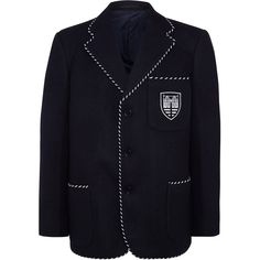 Meoncross School Unisex Blazer, Navy Blue ❤ liked on Polyvore featuring outerwear, jackets, blazers, blazer jacket, navy blazer, navy jackets, blue blazer and blue jackets