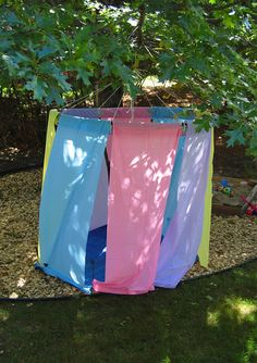 let the children play: 12 outdoor storage solutions for loose parts in the playground. Love the idea of using old shower curtains and tarps for tents/cubbies outside.