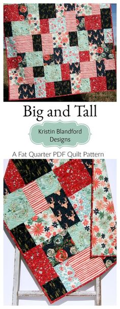 Fat Quarter Quilt Pattern for Beginners Simple Quick Easy Fun PDF Instant Upload Little to no waste Modern Big Block Art Gallery Fabrics Large Scale Prints Quilting Sewin. Hand Quilting Patterns, Jelly Roll Quilt Patterns, Easy Quilt Patterns, Pattern Blocks, Quilting Designs, Fat Quarter Quilt Patterns, Simple Quilt Pattern, Sewing Stitches, Pattern Ideas