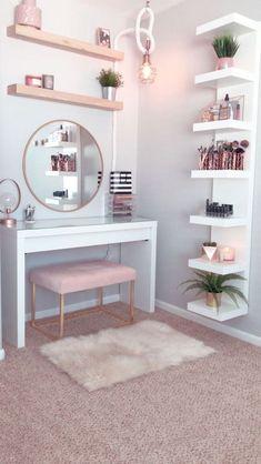 Hollywood Regency Bedroom Design Ideas - Home Decor Room Makeover, Home Decor Shelves, Bedroom Makeover, Home Decor, Room Inspiration, Stylish Bedroom, Makeup Room Decor, Room Decor, Girl Bedroom Decor