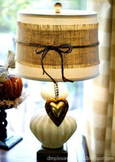 Dimples and Tangles: LOVE the burlap wrapped on the lamp shade. TOTALLY doing this!