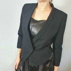 Helmut Lang Size 10 US 6 Black Wool Cropped Tuxedo Jacket Blazer Smart Tailored #HELMUTLANG #Tuxedo #Formal Tuxedo Jacket, Blazer Jacket, Helmut Lang, Black Wool, Size 10, Blazer