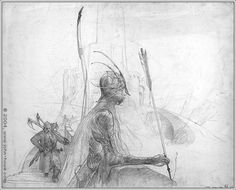 Lord of the Rings concept art by John Howe- Gimli and Legolas at Helm's Deep The detail in Howe's sketches are amazing. Description from pinterest.com. I searched for this on bing.com/images