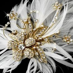 Elegance by Carbonneau Glamorous Gold Bridal Hair Clip with Brooch Pin and Clear Rhinestones & Ivory Feathers 456 Wedding Flower Photos, Wedding Flowers, Wedding Stuff, Wedding Ideas, Gold Wedding, Wedding Planning, Wedding Inspiration, Wedding Dresses, Gold Corsage