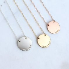 """Zola in Latin means """"World,"""" which is why we named it after the large 3/4"""" round disc. Wear the name or initials of someone who means the WORLD to you.  16"""","""