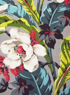 Caribbean Blue & Lime Tropical Vintage Barkcloth                                                                                                                                                      More