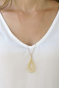 Long necklace Gold long necklace Gold swirl by RomisJewelry, $32.00