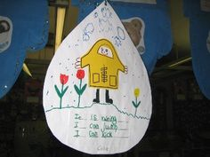 Raincoats - add face, hands legs.  Attach to raindrop and paint a rainbow on back. Hang from ceiling.