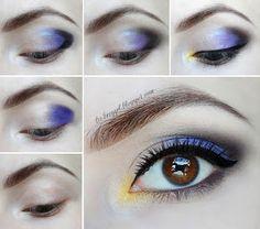 Easy Holiday Makeup step by step Tutorial violet purple makeup for brown eyes tutorial