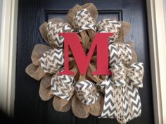 Chevron and Red Monogram Christmas Wreath by Tarandipity on Etsy, $57.00