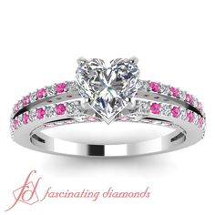 Shop split heart diamond engagement ring with pink sapphire in white gold at Fascinating Diamonds. This diamond engagement ring is designed in Pave setting Heart Diamond Engagement Ring, Unusual Engagement Rings, Diamond Rings, Heart Shaped Engagement Rings, Disney Princess Engagement Rings, Disney Rings, Disney Jewelry, Heart Shaped Diamond, Cute Rings