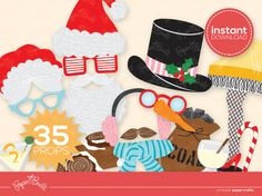 INSTANT DOWNLOAD - Printable Holiday/ Christmas DELUXE Photo Booth Props from Paper Built