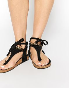 Image 1 of Free People Collins Footbed Gladiator Black Flat Sandals