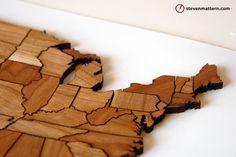 wooden magnet map