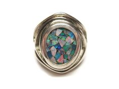 Vintage Opal Chip Inlay Sterling Ring Size 6 - pinned by pin4etsy.com