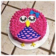 Pink owl smash cake :)